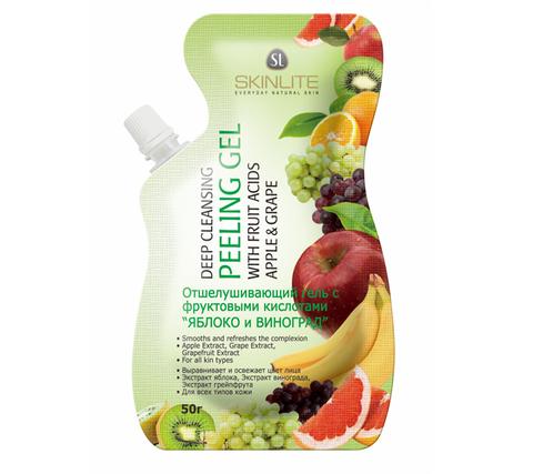 Skinlite Отшелушивающий гель-пилинг с фруктовыми кислотами Яблоко и виноград  SL-694