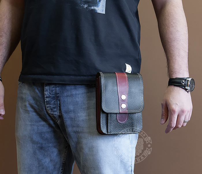 BAG379-3 Мужская сумка на пояс из натуральной кожи, ручная работа фото 05