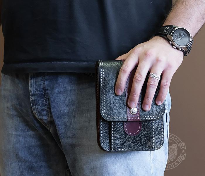 BAG379-3 Мужская сумка на пояс из натуральной кожи, ручная работа фото 06