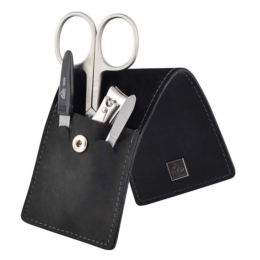 Маникюрный набор Erbe, 4 предмета, цвет черный, кожаный футляр
