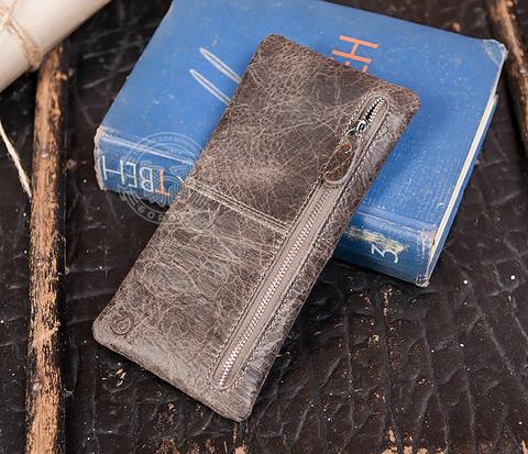 WL249-3 Мужской клатч на молнии из натуральной кожи серго цвета