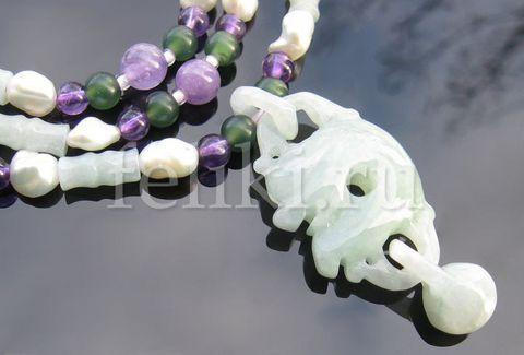 бусы из нефрита и аметиста Дракон и жемчужина а-0820-52