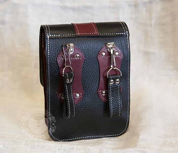 BAG379-3 Мужская сумка на пояс из натуральной кожи, ручная работа фото 09