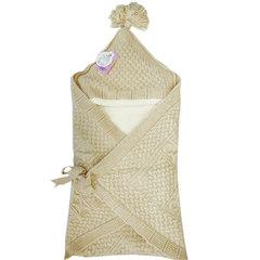 Папитто. Конверт-одеяло вязаный полушерстяной с подкладкой велсофт, бежевый