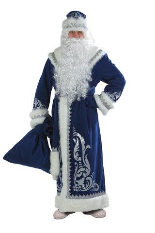 Костюм Дед Мороз с аппликацией синий