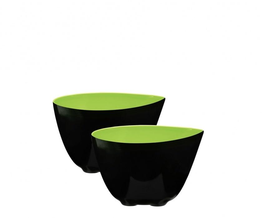 Набор из 2 мисок 0,35л ZONE GOURMET CONFETTI 321078Распродажа<br>Оттенок свежего лайма в сочетании с глянцевой черной поверхностью – это стильное решение для минималистичного дизайна мисок. Изюминка этой посуды – зауженный край а-ля носик для переливания жидкостей без брызг и луж на столе. Чтобы миски не опрокидывались в процессе готовки или принятия пищи, их оснастили фиксирующими силиконовыми ножками.<br>