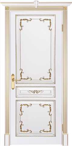 Дверь Prestigio Палагония 2/1, стекло бронза печать, цвет  белый/патина золото, глухая