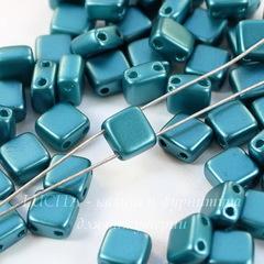 Бусина Tile mini Квадратная плоская с 2 отверстиями, 5 мм, пастельная сине-зеленая