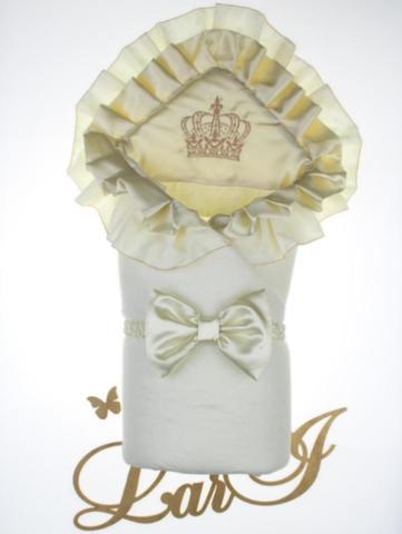 Зимний конверт одеяло Элегантность (белый/серый металлик)