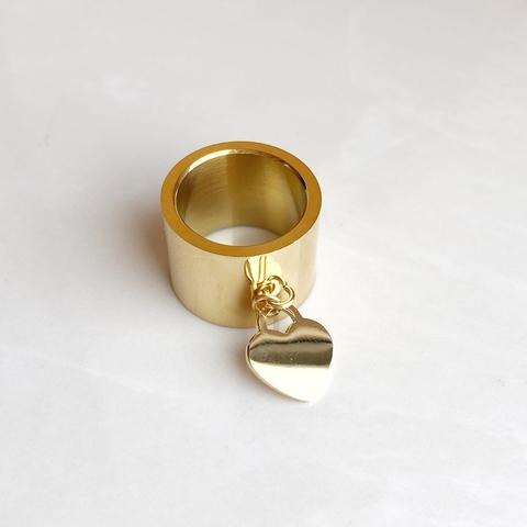 Кольцо классическое с сердечком, позолота