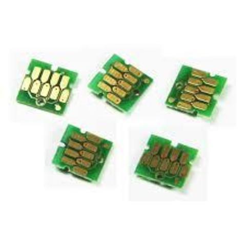 Чипы для Epson SureColor SC-T3000, SC-T5000, SC-T7000 (для перезаправляемых картриджей (ПЗК/ДЗК), комплект 5 цветов, авто обнуляемые