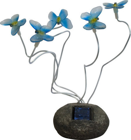 Светильник садово-парковый на солнечной батарее, 5 белых LED, синий, CD712B (Feron)