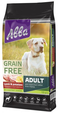 Abba Premium Grain Free Adult корм для собак всех пород старше 1 года, с ягненком и картофелем 12 кг