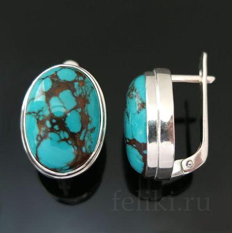 серьги из серебра с тибетской бирюзой, размер вставки 12*16 мм