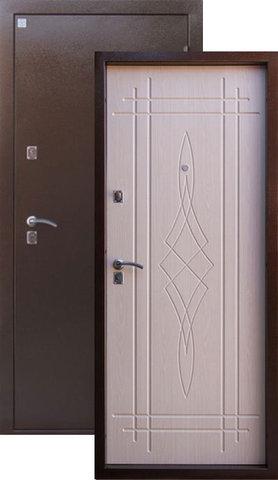 Дверь входная Алмаз Лазурит 2, 2 замка, 1,5 мм  металл, (медь антик+беленый дуб)