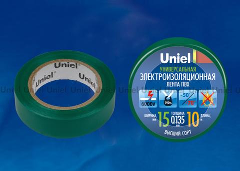 UIT-135P 10/15/01 GRN Изоляционная лента Uniel 10м, 15мм, 0,135мм, 1шт, цвет Зеленый