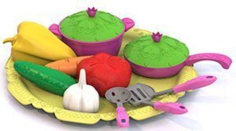 Набор овощей и кухонной посуды 12пр на подносе Волшебная хозяюшка/624