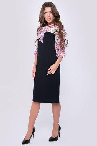 Эффектное офисное платье. Оригинальный фасон подчеркнет Вашу индивидуальность..Длина изделия 44р-99 см. 46р-101 см. 48р.-103 см. 50р.-105 см.