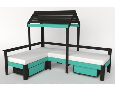 Кровать-домик АВАРА-3 с крышей и ящиками