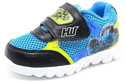 Светящиеся кроссовки Хот Вилс (Hot Wheels) на липучке для мальчиков, цвет синий. Изображение 1 из 15.