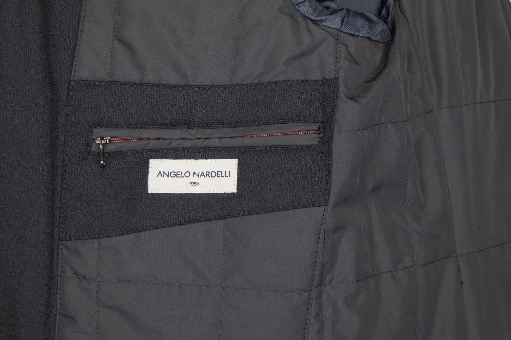 Тёмно-синее пальто из хлопка с добавлением синтетики, внутренний карман