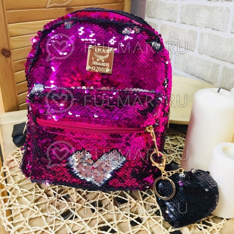 Рюкзак детский с двусторонними пайетками меняет цвет Малиновый-Серебристый и брелок Сердце (24х20х10 см) Классика Малина