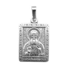 Святой Сергий. Нательная икона посеребренная.