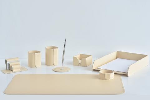 Настольный набор из кожи 8 предметов цвет слоновая кость