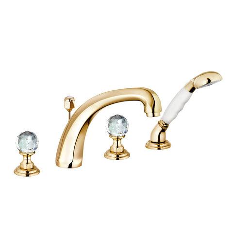 KLUDI ADLON смеситель для ванны и душа на 4 отверстия, ручки хрусталь, золото 23 карата
