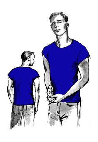Выкройка мужской футболки со спущенной проймой