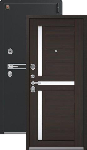 Тёплая дверь входная Легион L-3, 2 замка, 1,8 мм  металл, (чёрный муар+венге шоколад)