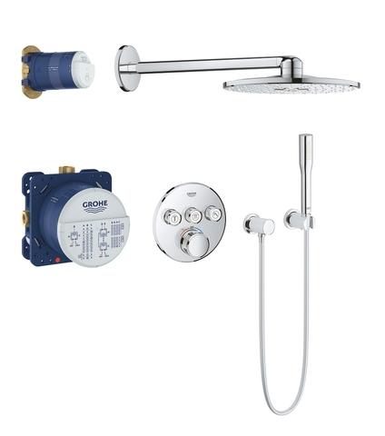 Grohtherm SmartControl Набор для комплектации душа со встраиваемым термостатом с 3 кнопками управления, верхним душем Rainshower 310 (круглый), душевым кронштейном 400 мм, ручным душем Euphoria Cosmopolitan Stick