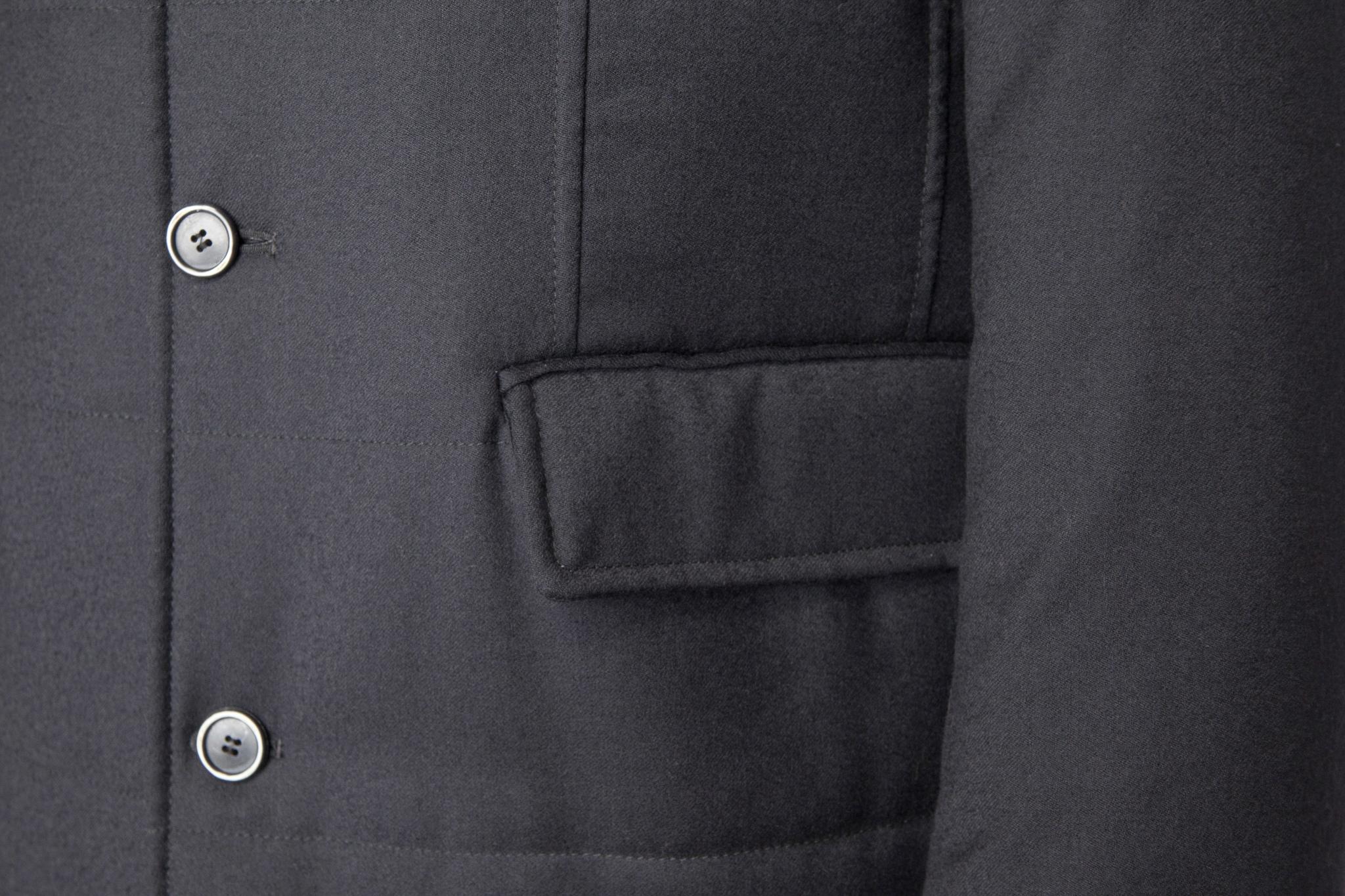 Тёмно-синее пальто из хлопка с добавлением синтетики, накладной карман