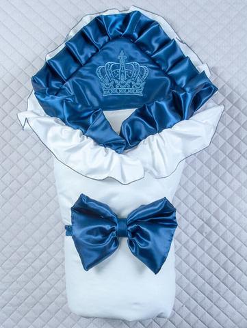 Зимний конверт одеяло Элегантность (белый/темно синий)