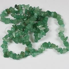 Бусина Авантюрин, крошка, цвет - зеленый, 5-8 мм, нить