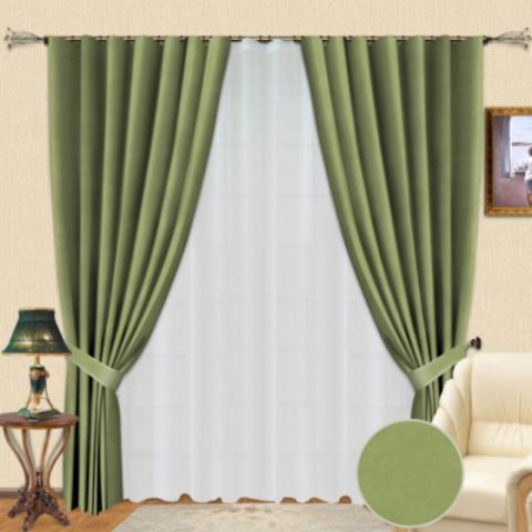 Комплект штор из софта Стефани зеленый