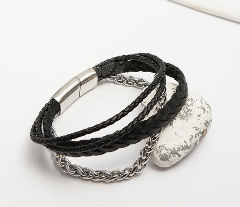 BM426 Оригинальный браслет из кожаных шнуров и стальной цепочки
