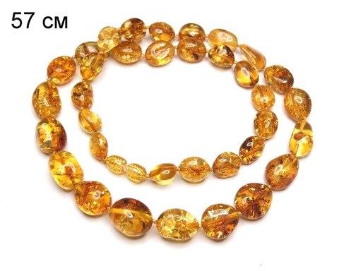 Бусы из цельного янтаря золотистого цвета