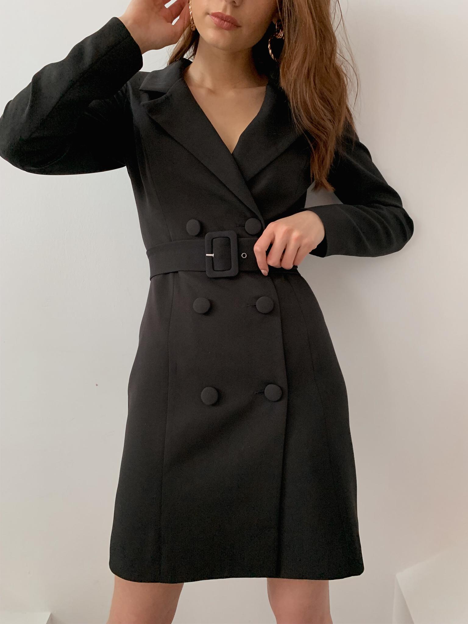 Платье-пиджак с поясом (черный)