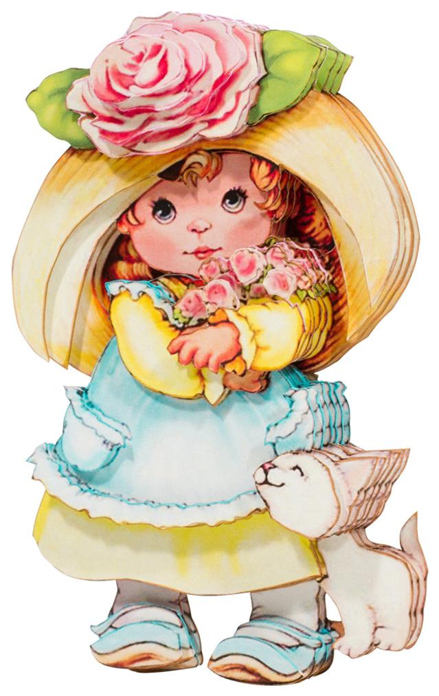 Папертоль Девочка с розами — готовая работа, вид сбоку.