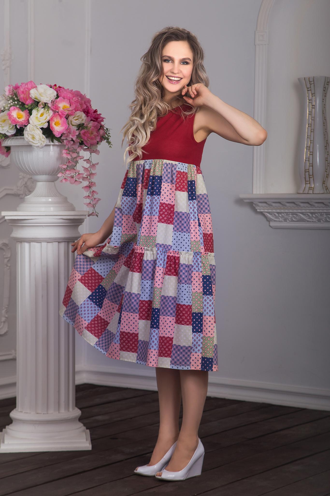 Вид сбоку Платье Вишневый пэчворк