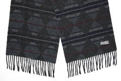Шерстяной шарф, мужской черный с принтом 30061
