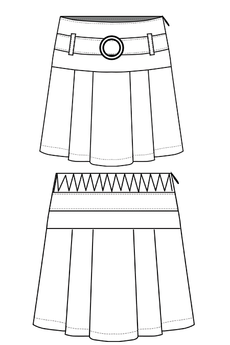 Выкройка юбки на кокетке со складками