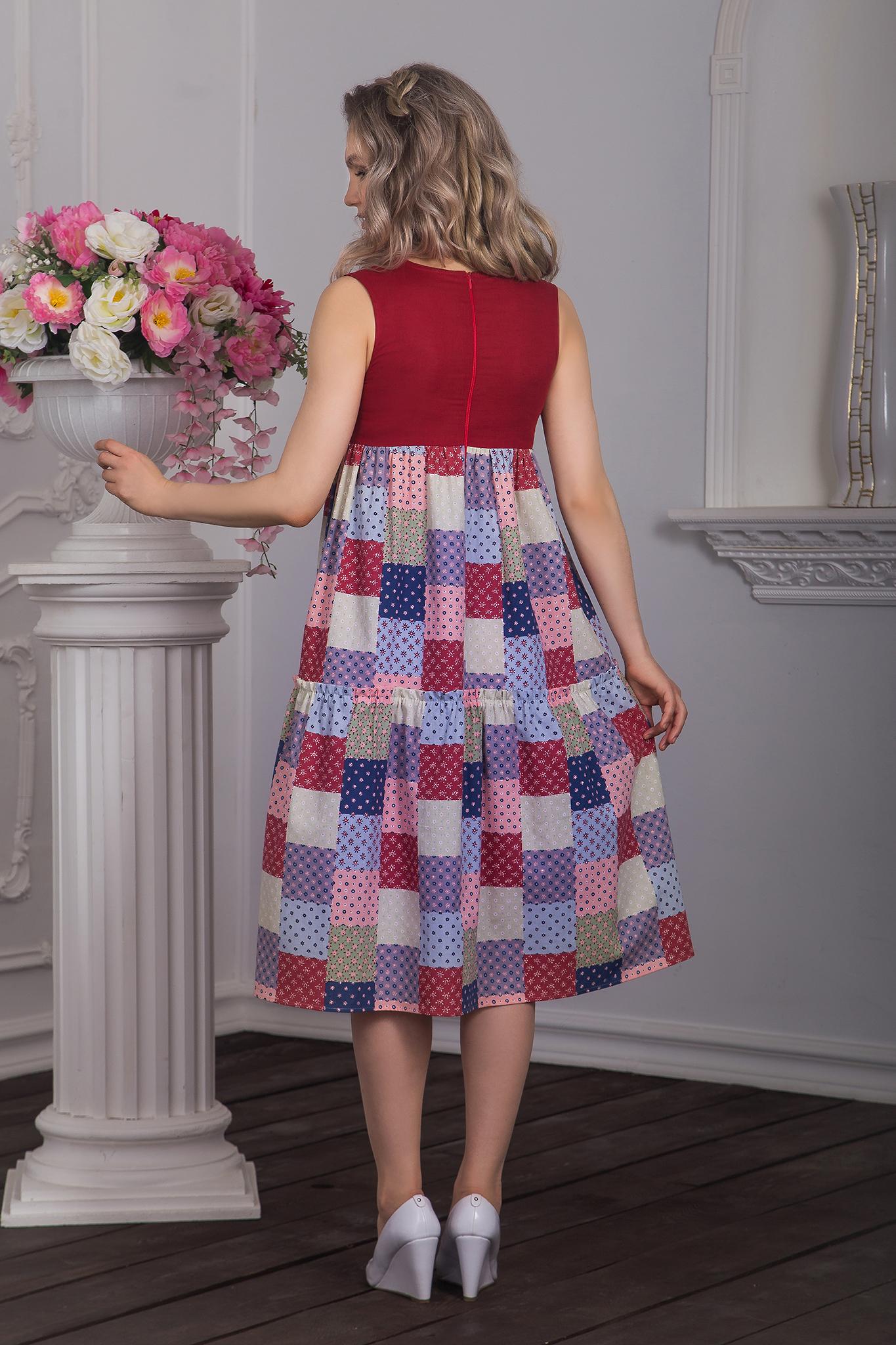 Вид сзади Платье Вишневый пэчворк