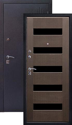 Дверь входная Алмаз Рубин 2, 2 замка, 1,5 мм  металл, (чёрный шёлк+тиковое дерево)