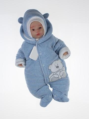 Комбинезон для новорождённого с шапкой Умка голубой меланж