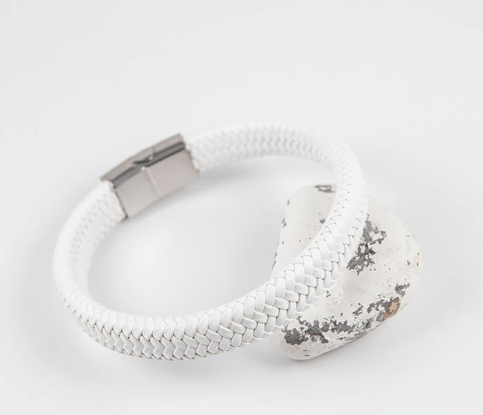 BM531-3 Белый мужской браслет из плетеной кожи