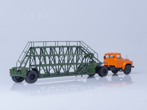 ZIL-130V1 orange and semitrailer for panels NAMI-790 green AutoHistory 1:43