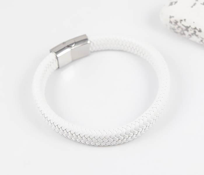 BM531-3 Белый мужской браслет из плетеной кожи фото 02