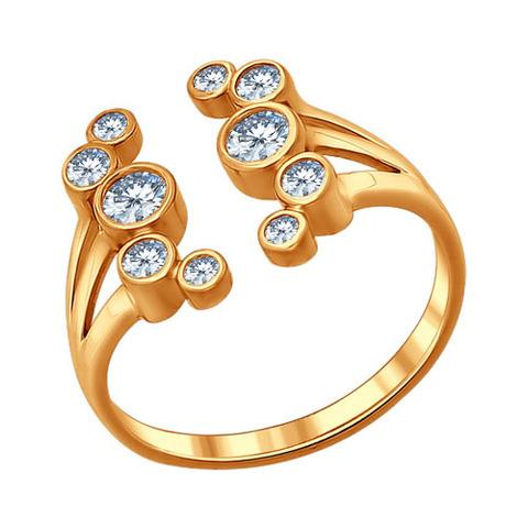Кольцо «Зимняя вишня» из золочёного серебра с фианитами